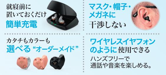 スターキーの充電式耳あな型補聴器