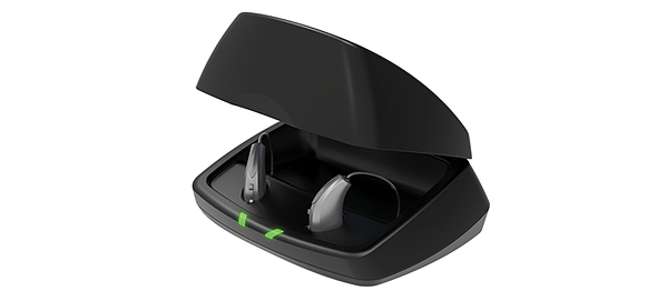 Livio R補聴器とチャージャー1