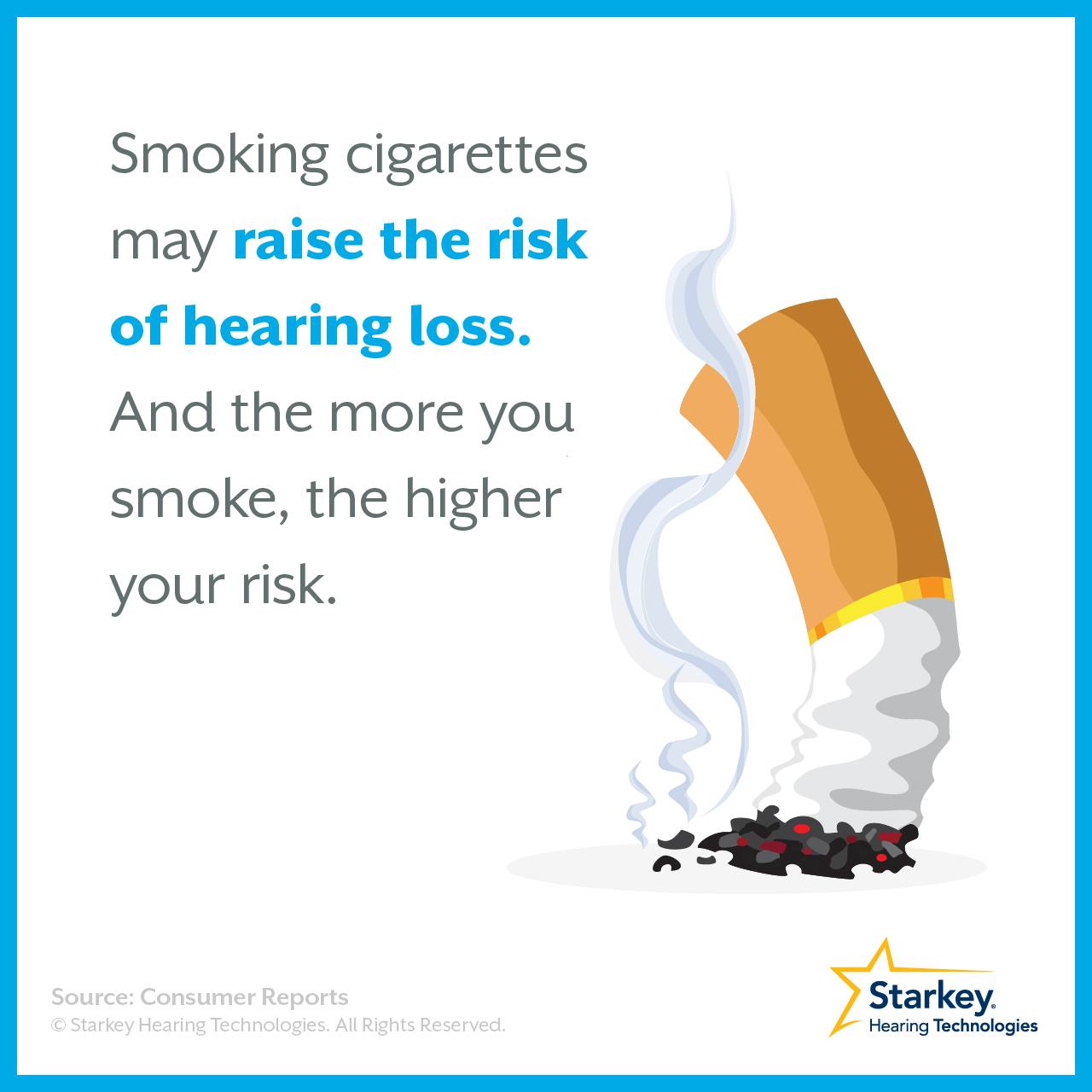 タバコは難聴のリスクを増加させます